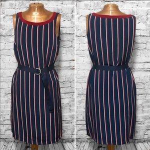 Tommy Hilfiger Striped Belted Dress EUC